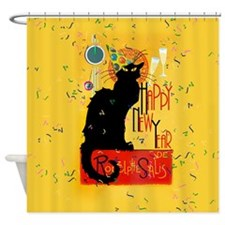 Chat Noir New Years Party Countdown Shower Curtain
