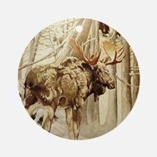 Vintage Woodland Moose Ornament (Round)
