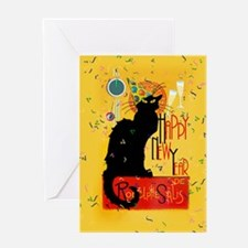 Chat Noir New Years Party Countdown Greeting Cards