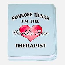 World's Best Therapist baby blanket