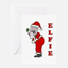 Funny Christmas Santa Elfie Greeting Cards