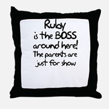 Ruby is the Boss Throw Pillow
