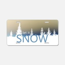 Let It Snow Aluminum License Plate
