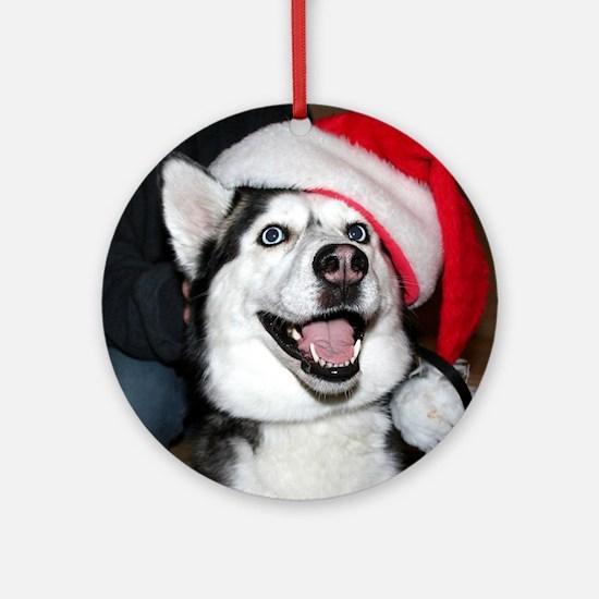 Christmas Husky Ornament (Round)