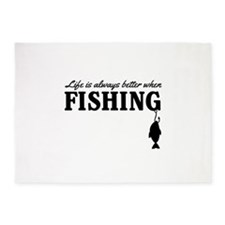 Life is always better when fishing 5'x7'Area Rug