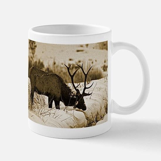 Sepia elk in snow Mugs