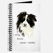 Watercolor Border Collie Dog Humor Herding Journal