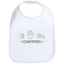 rock paper scissors champion. Bib