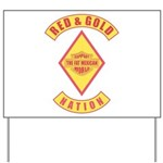 Red and gold support Mexican Yard Sign