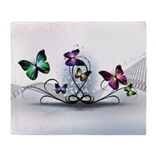 Colorful Butterflies Throw Blanket