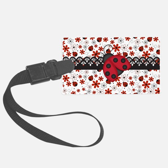 Charming Ladybugs and Red Flowers Luggage Tag