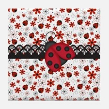 Charming Ladybugs and Red Flowers Tile Coaster