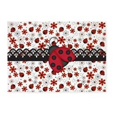 Charming Ladybugs and Red Flowers 5'x7'Area Rug