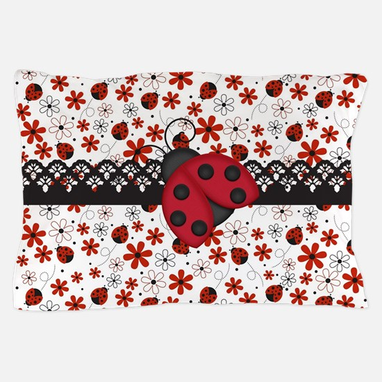 Charming Ladybugs and Red Flowers Pillow Case