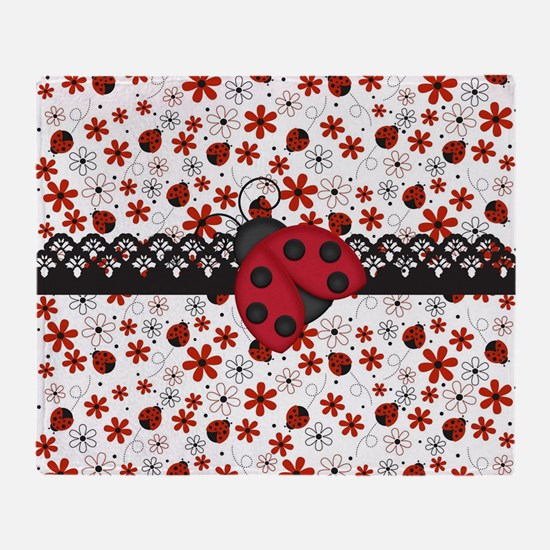 Charming Ladybugs and Red Flowers Throw Blanket