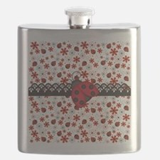 Charming Ladybugs and Red Flowers Flask