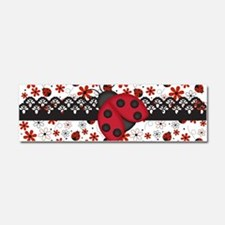 Charming Ladybugs and Red Flowers Car Magnet 10 x