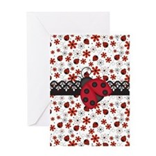 Charming Ladybugs and Red Flowers Greeting Cards