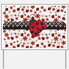 Charming Ladybugs and Red Flowers Yard Sign