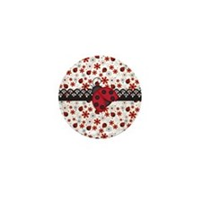 Charming Ladybugs and Red Flowers Mini Button (10