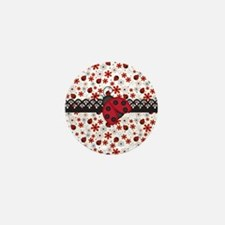 Charming Ladybugs and Red Flowers Mini Button