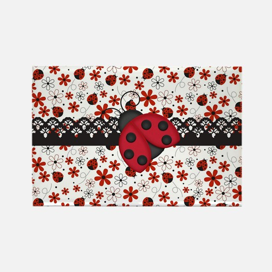 Charming Ladybugs and Red Flowers Magnets