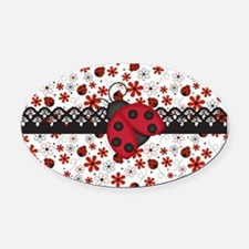 Charming Ladybugs and Red Flowers Oval Car Magnet