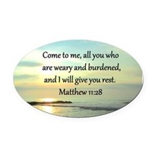 MATTHEW 11:28 Oval Car Magnet