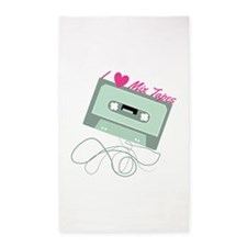 I Love Mix Tapes 3'x5' Area Rug