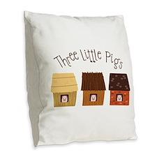 Three Little Pigs Burlap Throw Pillow