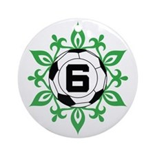 Soccer Player Number 6 Ornament (Round)