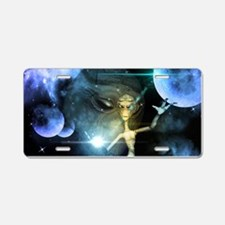 The alien in the universe Aluminum License Plate