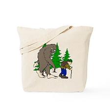 Sasquatch and hiker Tote Bag