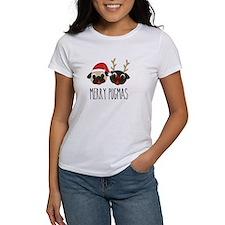 Merry Pugmas Christmas Pug Santa & Reindeer T-Shir