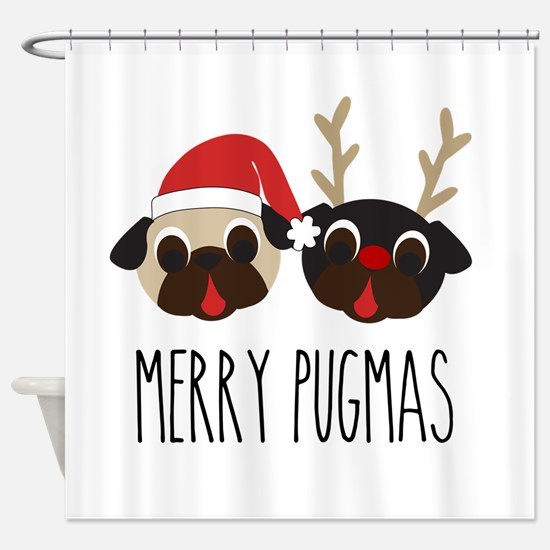 Merry Pugmas Christmas Pug Santa & Reindeer Shower