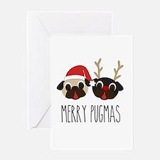 Merry Pugmas Christmas Pug Santa & Reindeer Greeti