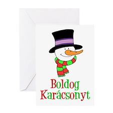 Boldog Karcsonyt Hungarian Snowman Greeting Cards