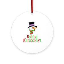 Boldog Karcsonyt Snowman Ornament (round)