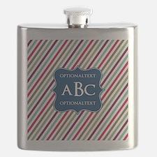 Monogrammed Diagonal Stripes Flask