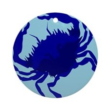 Crab Blue Ornament (Round)