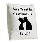 Christmas Love Burlap Throw Pillow
