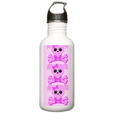 Pink Skull Girl Water Bottle