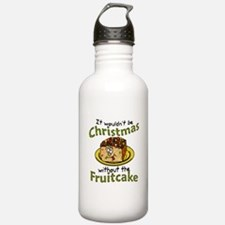 Funny Christmas Cartoon Fruitcake Water Bottle