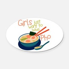 Girls Just Oval Car Magnet