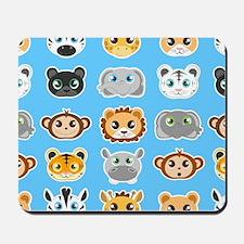 Cute Jungle Animals Pattern Blue Mousepad