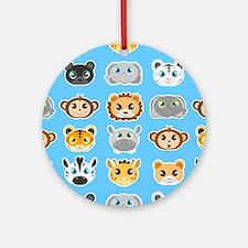 Cute Jungle Animals Pattern Blue Ornament (Round)
