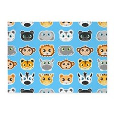 Cute Jungle Animals Pattern Blue 5'x7'Area Rug