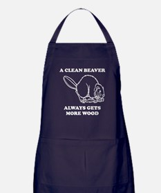 A Clean Beaver Always Gets More Wood Apron (dark)