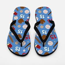 Baseball Number 15 Flip Flops