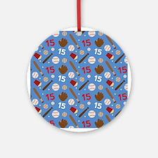 Baseball Number 15 Ornament (Round)